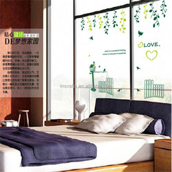 Wall stickers green glass plants the sitting room the bedroom TV setting plane post new removable sticker AY9142