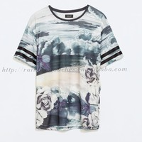 Cloud With Flower Printing Cutomer Design Sublimail T-shirt