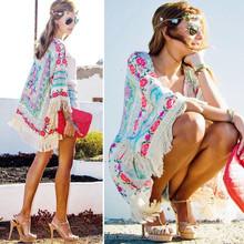 Spain style chiffon kimono cardigan tassel Regular Floral print blouse