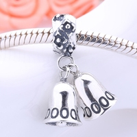 Christmas Bell 925 Sterling Silver Dangle Charms Silver Beads Pendant Fits Snake Chain Bracelet DIY Making Jewelry