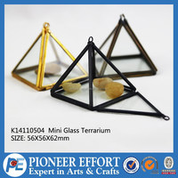 mini triangle clear glass terrarium plant holder for indoor decoration