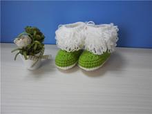 hecho a mano de lana de cuero zapatos de bebé