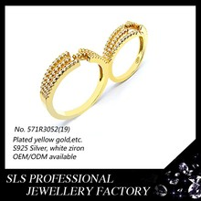 Simple and fashion women's jewelry rings s925 silver 18 karat gold plated double ring