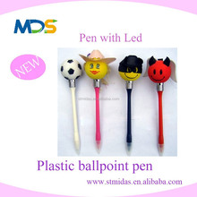 cute design pen with light led, top ball pen with head, 2015 plastic ballpoint pen