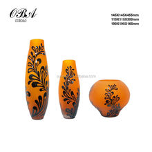 Handmade brown glass vase/Surface glass vase with decorative pattern/Different types glass vase