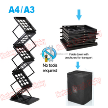 Arylic folding brochure holder magazine rack stand