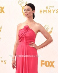 Celebrity Inspired Jessica Pare Emmys 2015 Strapless Evening Gown