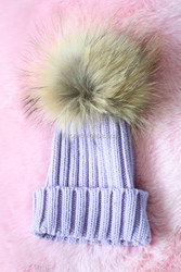 Funny Knit Winter Hats For Baby Children With Super Big Raccoon Pompoms