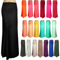 2015 fashion skirt SOLID MULTI COLOR FOLDOVER JERSEY KNIT RAYON LONG MAXI SKIRT