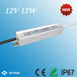 Output stabilized DC voltage 12V waterproof ip67 constant voltage power supply 12W with ce&rohs