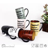 ceramic gift coffee cups engraved mug stoneware in Hunan China manufacturer