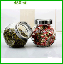 Glass storage jar glass container jar with lid wholesale