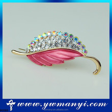 Fashion wholesale imitation custom crystal leaf button brooch back