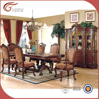 Cheap wood dining set, classic luxury wooden dining room set