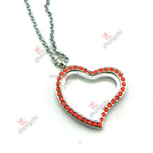 Living Memory Floating Charm Heart Glass Locket Silver Pendant and Necklaces