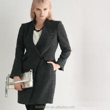 High quality fashion simple designed grey woolen coat
