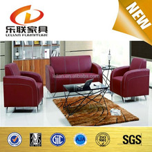 Modern Style Mental Frame Leather Meeting Sofa, Leather Office Sofa Set