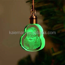 wholesale Crystal glass 3d laser engrave key chain for decoration Christmas gift