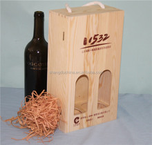 2015 natural wood good quality handmade unfinished wooden wine box