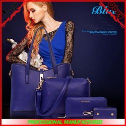 wholesale pu leather bag purses and women set bag 4pcs lady handbag