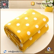 yellow color small spot design polar Fleece throw blanket