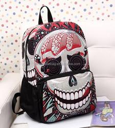 Fashion Wholesale Hot Sale Skull Printing Backpack Rucksack Bag For Teenagers