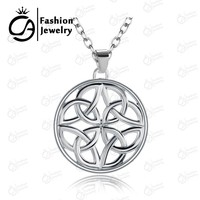 "2015 Fashion Jewelry Celtic Knot Platinum Plating Round Pendant Box Chain Necklace 18"" Wholesale #LN960"