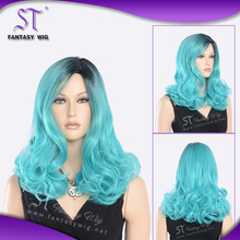 Hot selling high quality curly synthetic blue beauty cosplay wig