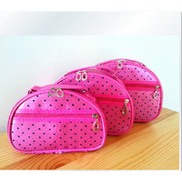 2015 Large capacity dot pattern three-piece hanging cosmetic bag portable toiletry kits package wholesale canvas cosmetic bag