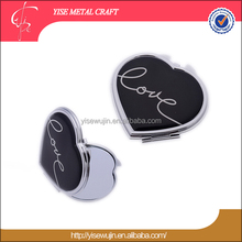 Small order giveaways Love Character heart metal portable compact mirror hand cosmetic pocket mirror for lady purse small Mirror