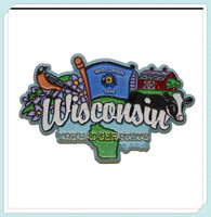 Wisconsin State Elements Fridge Collectible Polyresin Souvenir Magnet