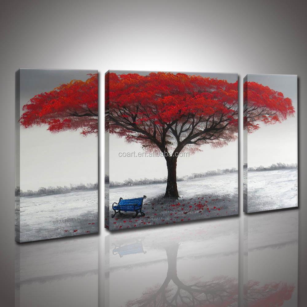 Moderne rouge arbre peinture l 39 huile sur toile peinture for Peinture moderne sur toile