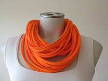 Neon Orange Tshirt String Scarf, Fabric necklace, Infinity Scarf