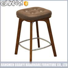 leather seat solid ash wood legs modern living room furniture with metal ring