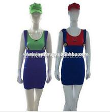 Adult drop ship carnival junhou China Supplier Super Mario Luigi Brothers Sexy Women Ladies Halloween Fancy Dress Costume Hen N