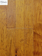 Hand Scraped, Stained and UV Lacquer Hickory engineered wood flooring