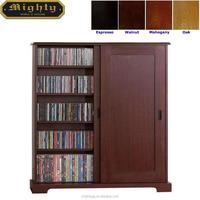 (No Tools Assembly) Wooden Sliding Door DVD Media Storage Cabinet With Adjustable 5-Shelf