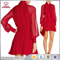 2016 the most fashion long sleeve red chiffon flouncing dress