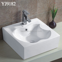 YJ9182 Square Iphone Pattern Hand Washing Sink, Porcelain New Design Basin for Bathroom