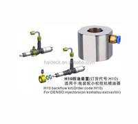 common rail Denso injector tool H10 backflow kit on Komatsu Excvavtor