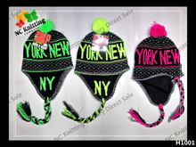 NEW PRODUCT 100% ACRYLIC WINTER HAT EARFLAP HAT NEW YORK KNITTED CAP FASHION ACCESSORY UNISEX COSTOM CHARACTER