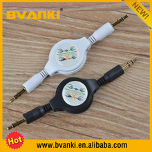 Free sample retractable gold plated 3.5mm audio cable, aux cable Gold plated colorful 3.5mm aux cable for car,audio video cable