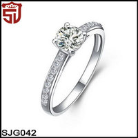 2014 Designs Rhodium Plated Cubic Zirconia Pave Engagement Finger Rings 925