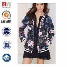 Neoprene Bomber Jacket , Floral Print Wholesale Pretty Lady Clothing