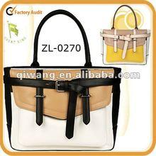 2012 vintage style ladies PU handbags with belt trim