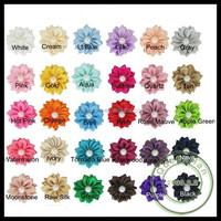 "IN STOCK 1.5"" Handmade Satin Ribbon flowers Sew With Rhinestone Fabric Flower For Baby Headbands"