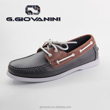 972-01 Blue American style Leather Lace-up boat shoes cheap boat shoes wholesale