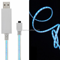 standards flowing led el glow micro usb charger cable for mobile