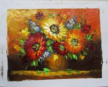 the newest design Decoration handmade flower oil paintings on canvas