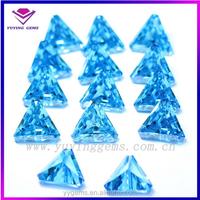 synthetic triangle cut aquamarine loose cubic zirconia stone